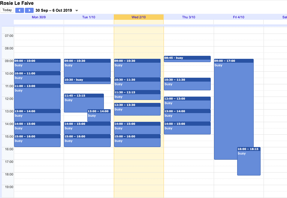 Screenshot of google calendar for this week; almost entirely meetings.